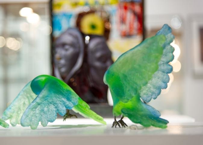 The finished piece: glass student work on display at the summer arts exhibition