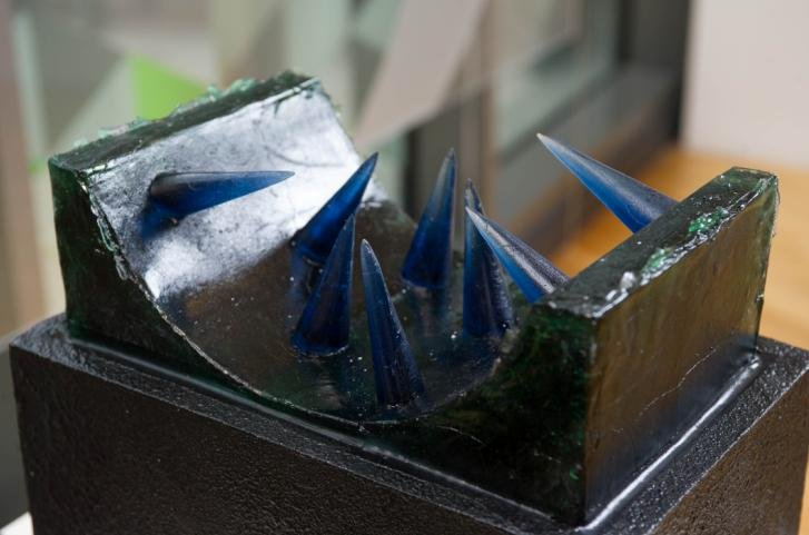 A striking exhibit: glass work by WAES students at the summer arts exhibition