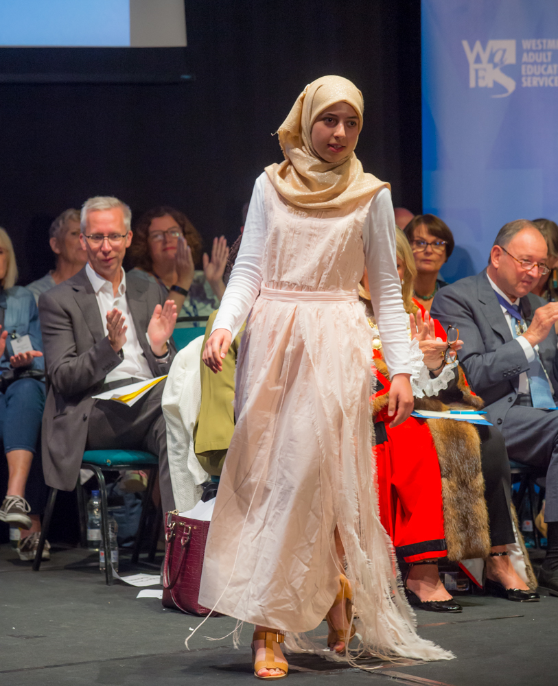 A model wears artwork by Sarwat Galali, fashion student and Learner of the Year award winner