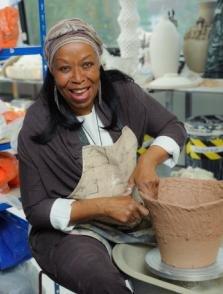 Ceramics student Maria Do Carmo Riezzo perfect her art at the wheel